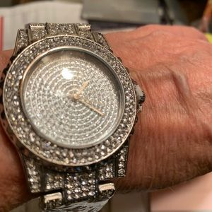 Glam and Glitz Watch for Ladies or Men in silver